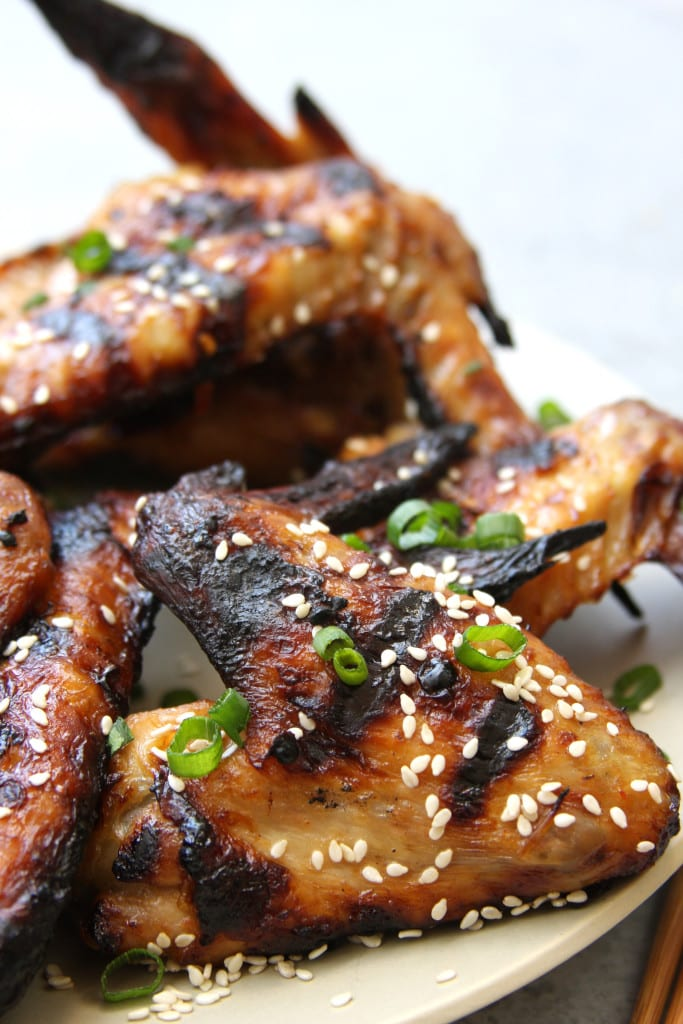 Simple Grilled Asian Wings recipe has the flavors of sesame, honey and ginger. Perfect for those who don't want a ton of sauce.