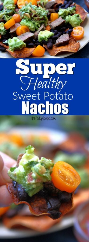 "Super Healthy Sweet Potato Nachos are the health-nut's dream come true. Crispy homemade sweet potato chips, tender grass-fed steak, nutrient rich black beans and zesty guacamole will make you ""super"" happy without any guilt. These nachos are perfect for those following an elimination diet, Paleo diet or just needing a fun gluten free meal."