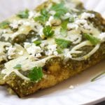 Lightened Up Salsa Verde Chicken Enchiladas
