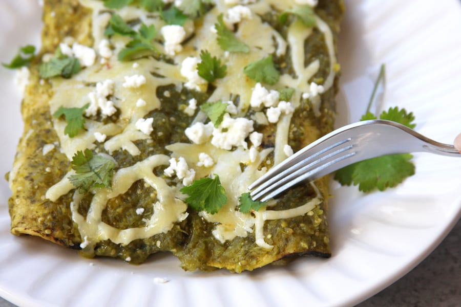 Authentic Mexican Salsa Verde Enchiladas