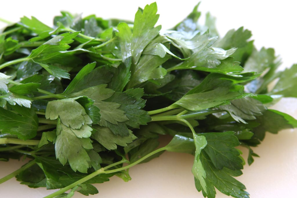 Italian parsley for Tomato Caper Pasta.