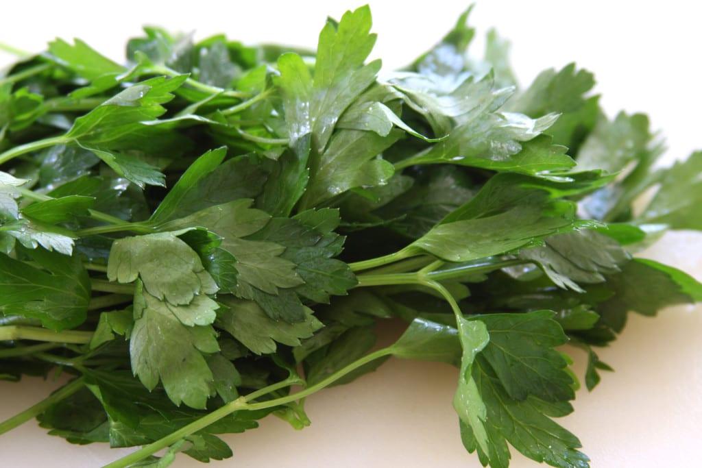 Italian parsley for Tomato Caper Pasta.