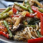Lemongrass Chicken Noodle Stir Fry recipe is the ultimate healthy comfort food. Full of veggies, aromatic lemongrass and ginger all with the comfort of rice noodles. My family was in heaven with this.