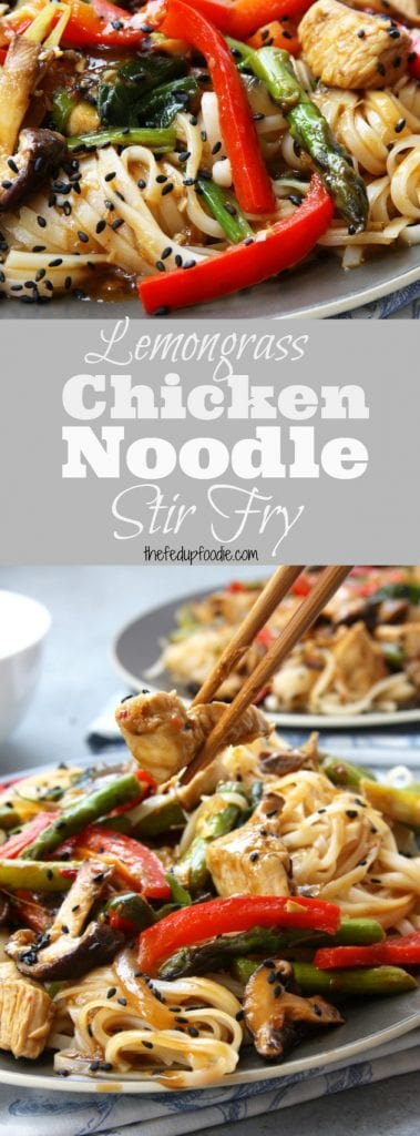 Lemongrass Chicken Noodle Stir Fry recipe is the ultimate healthy comfort food. Full of vitamin packed veggies, aromatic lemongrass and ginger. All nestled in a bed of rice noodles just waiting to be devoured. This dish is on the same level as your favorite pad thai. https://www.thefedupfoodie.com