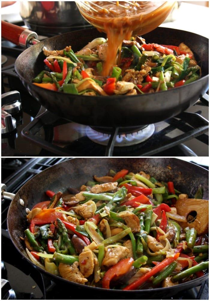 Stir frying the Lemongrass Chicken Noodle Stir Fry recipe.