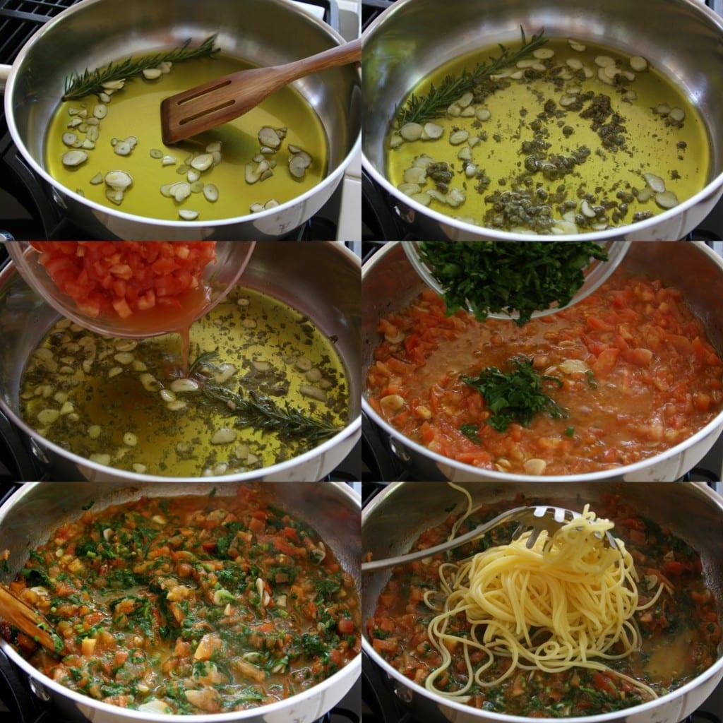 Tomato caper sauce for Tomato Caper Pasta.
