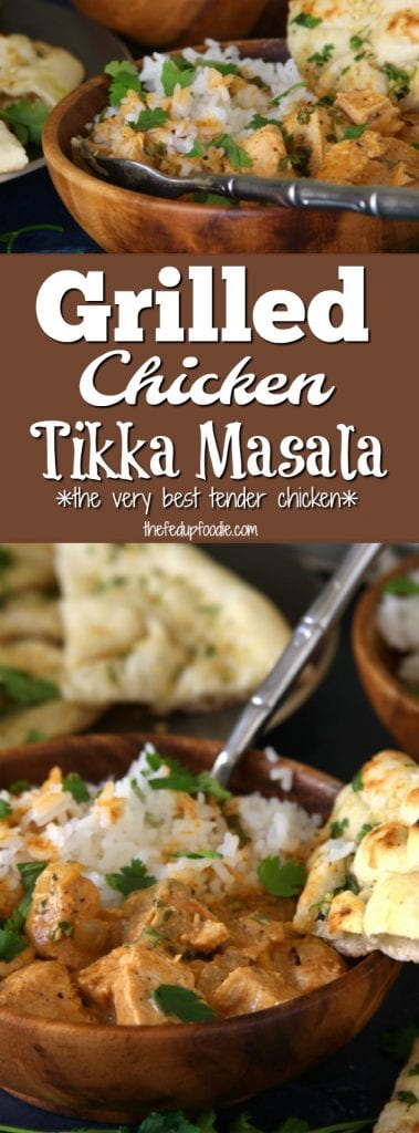 Grilled Chicken Tikka Masala is a flavor packed comfort recipe with spiced yogurt, coconut milk, tender grilled chicken, served over fluffy rice. This is an ultimate crowd pleaser and yet so simple to make. Leftovers are perfect for packed work lunches.