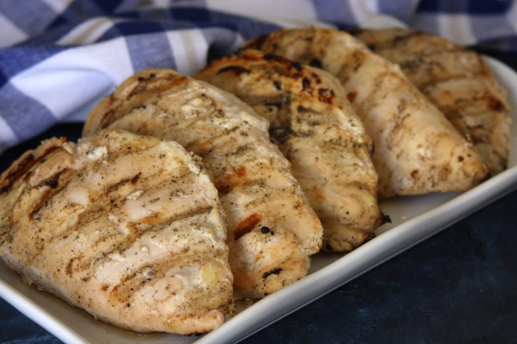 Marinated and grilled chicken for Grilled Chicken Tikka Masala.
