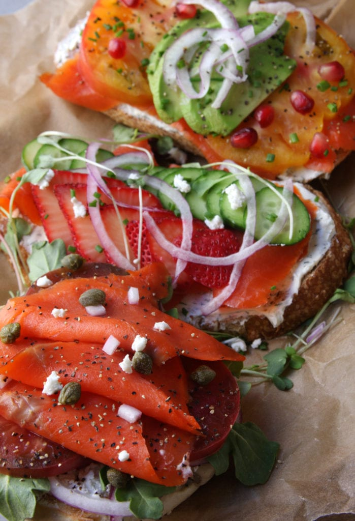Summer Smoked Salmon Sandwiches recipe is my favorite dinner when it is hot outside. They have endless possible fixing combinations. So easy, fun and flavorful.