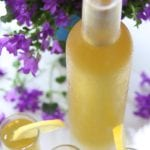 Homemade Limoncello in a frosted bottle.