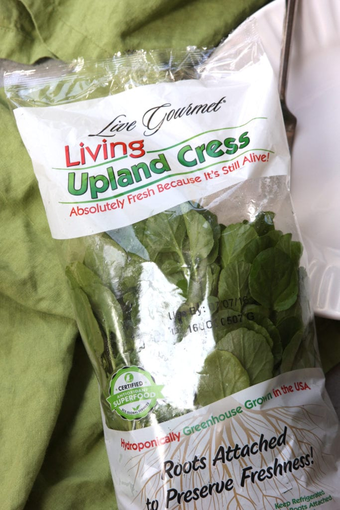 Living watercress for Mediterranean Tuna Salad.