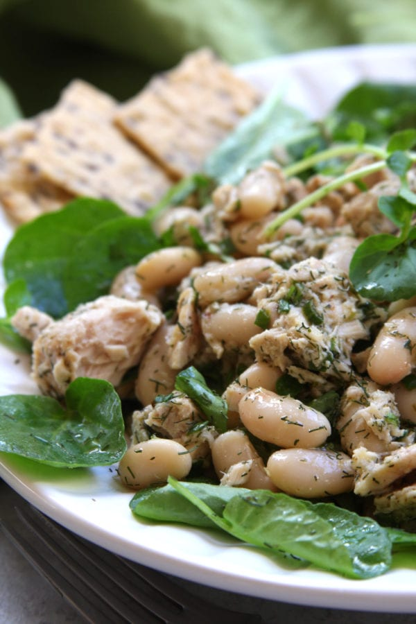 Mediterranean Tuna Salad is a fast and healthy recipe perfect for lunch or dinners with no cooking. Lemon, watercress and olive oil packs in the flavor and satisfaction.