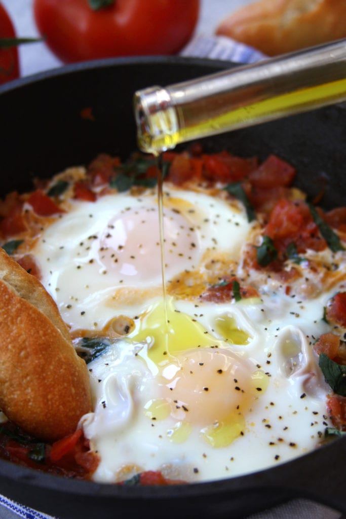 Italian Tomato and Eggs recipe has freshly sautéed tomatoes, fragrant basil and eggs cooked to your preference. Add in truffle oil or truffle salt and you will have a meal made in heaven.