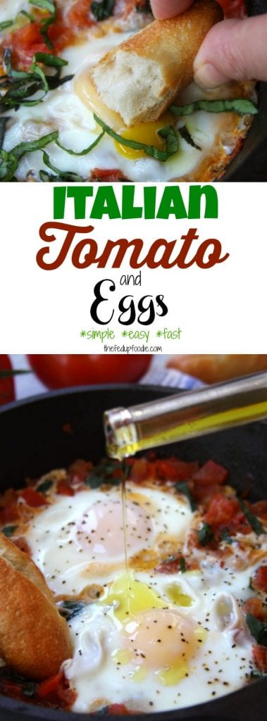 Italian Tomato and Eggs recipe is a simple and soul satisfying meal. With a 5 minute prep and just a few ingredients, it is perfect for anytime of the day. Sautéed fresh tomatoes, fragrant basil and eggs cooked to your preference are soaked up with a crusty french baguette. Drizzle with truffle oil or truffle salt and you have a meal made in heaven. https://www.thefedupfoodie.com