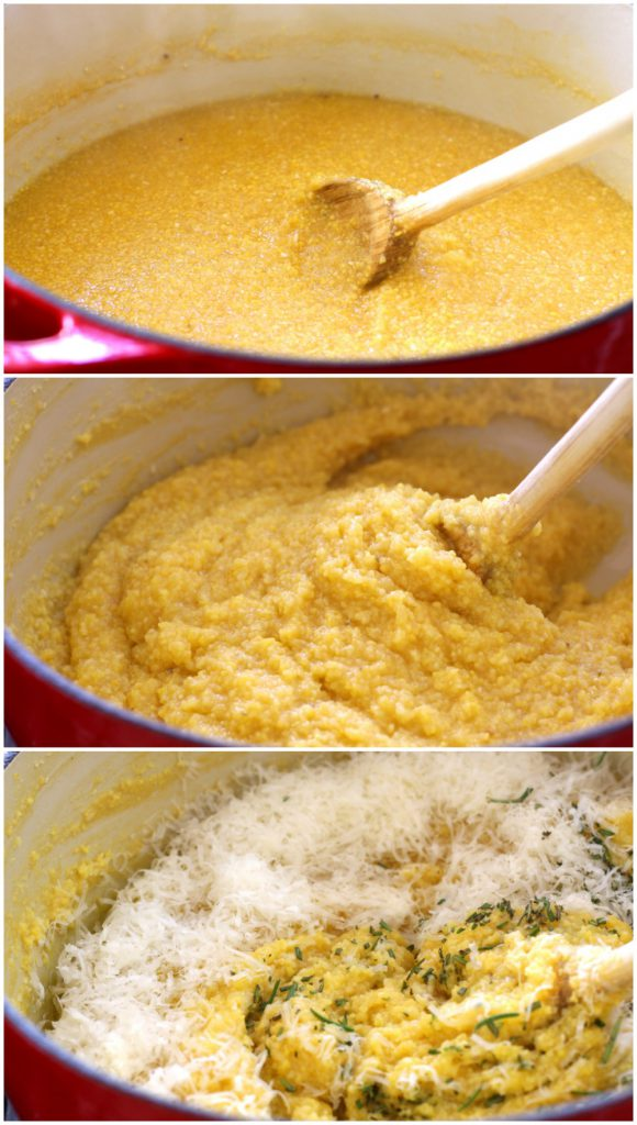 The 3 stages of polenta cooking for Rustic Italian Grilled Polenta & Vegetables.
