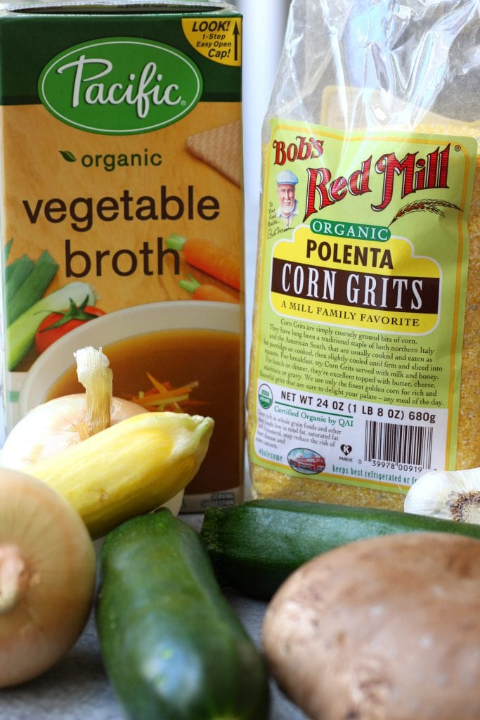 Ingredients for Rustic Italian Grilled Polenta & Vegetables.