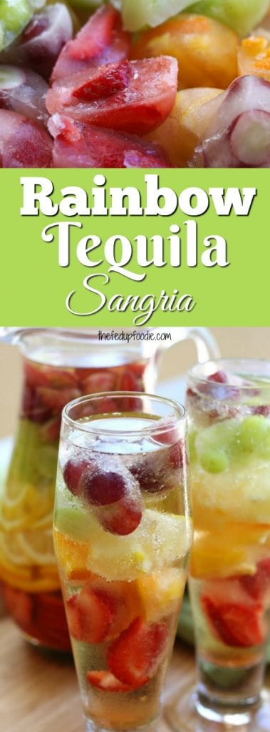Rainbow Tequila Sangria recipe is a refreshing adult cocktail that is as much fun to look at as it is to drink. Strawberries, citrus, red and green grapes all mingle with crisp sauvignon blanc and your favorite tequila to produce the happiest way to celebrate summer. #adultbeverage #cocktail #sangria https://www.thefedupfoodie.com