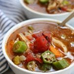 Mom's Chicken Gumbo Soup recipe is a hearty and heart warming meal that fights off winter colds and flues. Made with okra, chunky chicken and rice. This soup brings back sweet memories of childhood.