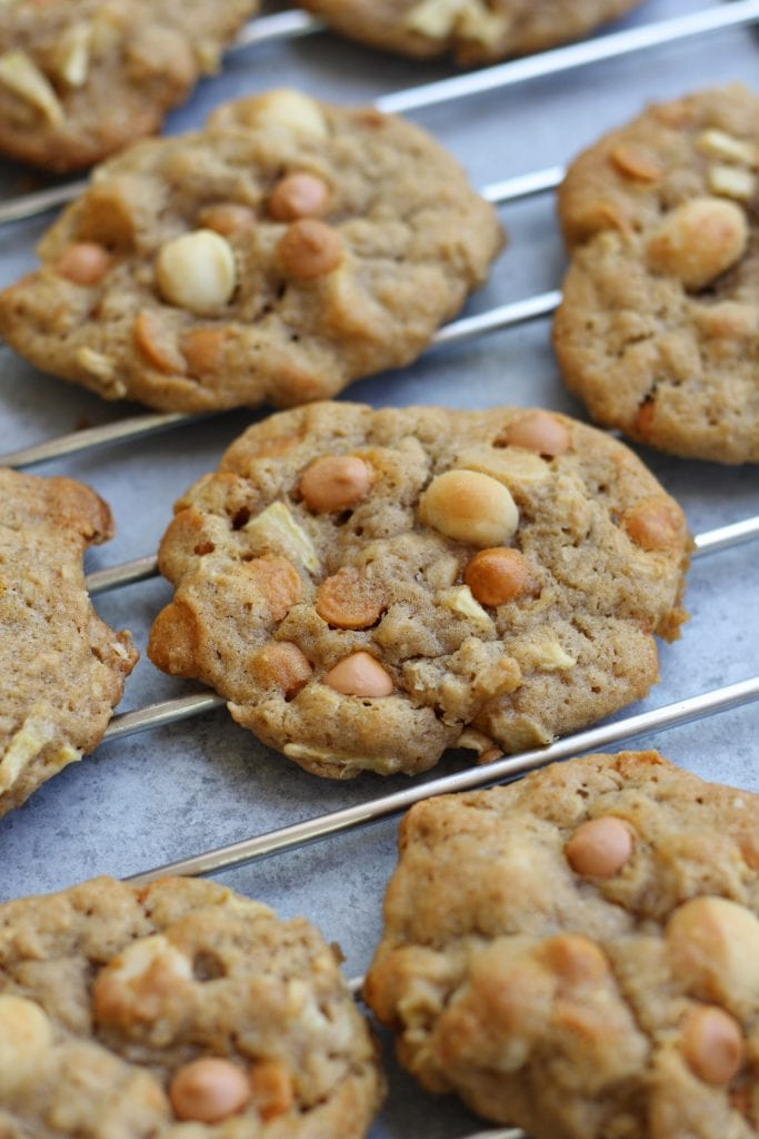 Green Apple Butterscotch Macadamia Nut Cookies recipe creates buttery cookies perfect for Fall. With little bits of apple, hints of cinnamon and the crunch of macadamia nuts, you won't be able to eat just one.