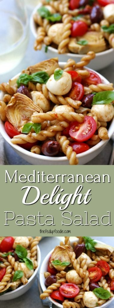 Mediterranean Delight Pasta Salad is an absolute crowd pleaser with a balsamic vinaigrette, creamy mozzarella, kalamata olives and artichoke hearts. A light meal that is great for diners or work lunches and only takes 20 minutes. Stopping at one bowl is almost impossible. #caprese #capresepastasalad #easypastasalad #20minmeal #summerrecipe https://www.thefedupfoodie.com