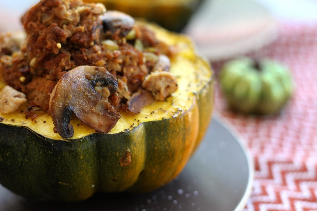 Bread Dressing Stuffed Acorn Squash will fill your house with the aroma off the Holidays. Flavors of Italian Sausage mingle with rosemary and sage to create a savory companion to your Thanksgiving feast.