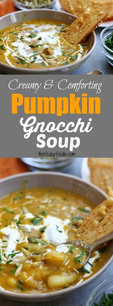 Pumpkin Gnocchi Soup recipe is an easy, creamy and comforting Fall meal. Comes together in 30 minutes. Thick & satisfying, this will become your family's new favorite soup! https://www.thefedupfoodie.com