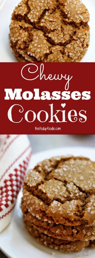 Buttery, rich with spices and candied ginger, this Chewy Molasses Cookies recipe is always a hit at Holiday parties. Not only are they gorgeous with their sparkly crackle topping but they offer a sophisticated choice for grownup taste buds. https://www.thefedupfoodie.com