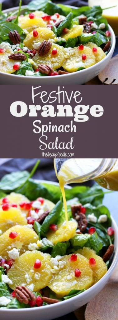 Delicious, simple and bright, this Festive Orange Spinach Salad is a wonderful companion to any Holiday feast or as a meal on its own. Comes together in minutes! Add chicken for an easy & refreshing meal anytime during the year. https://www.thefedupfoodie.com