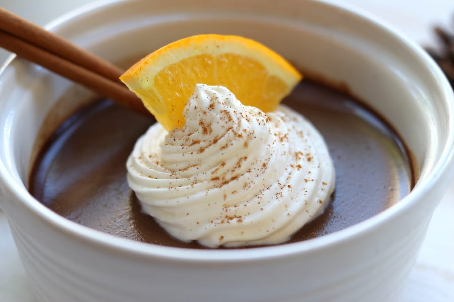 Elegantly rich and bursting with flavors of creamy chocolate, citrus and cinnamon. Chocolate Orange Cinnamon Pots de Creme is a Holiday dream come true with it being easier than homemade pudding and yet extremely sophisticated.