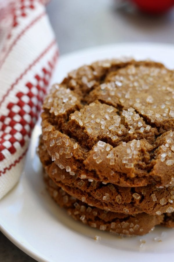 Buttery, rich with spices and candied ginger, these Chewy Molasses Cookies are always a hit at Holiday parties. Not only are they gorgeous with their sparkly crackle but they offer a sophisticated choice for grownup taste buds.