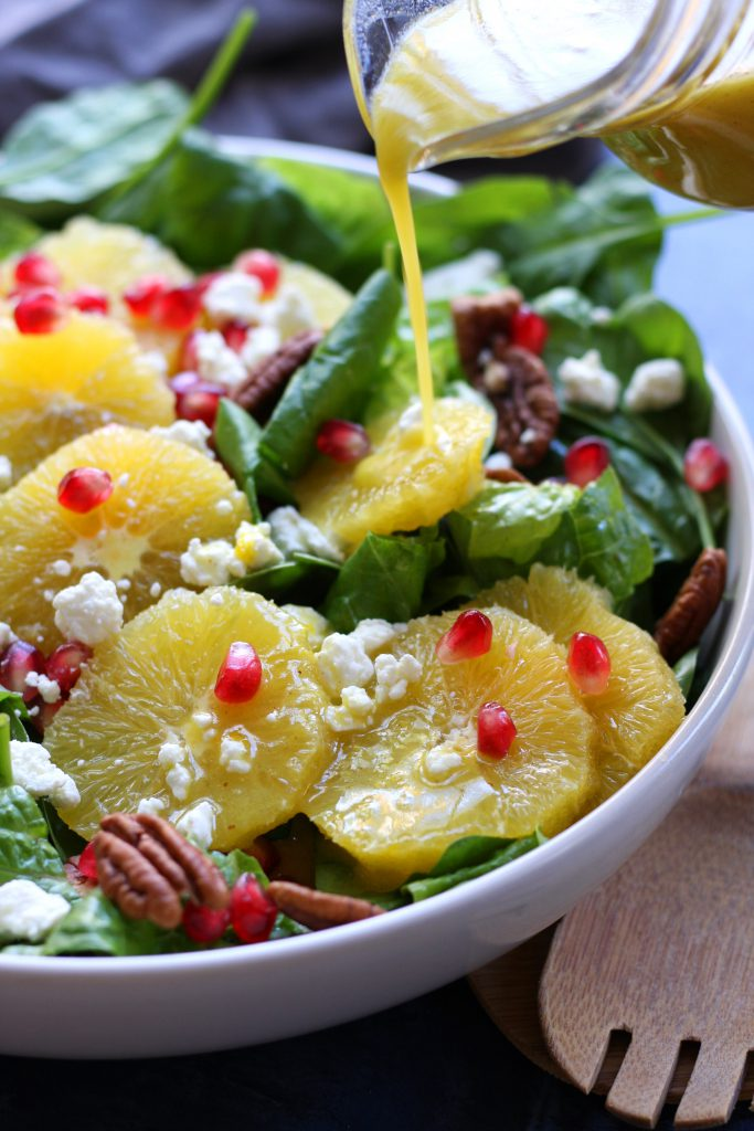 Delicious, simple and bright, this Festive Orange Spinach Salad is a wonderful companion to any Holiday feast or as a meal on its own.