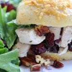 Pecan Cranberry Chicken Salad makes a perfect light and tasty lunch nestled in your favorite bread. Sweet, creamy and savory, you will feel like you just had lunch at a sidewalk cafe.