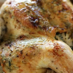 Rosemary Lemon Garlic Chicken is special enough for a Holiday and easy enough for a weeknight. Special prep method allows for a deeper infusion of aromatics and makes the leftovers taste even more delectable.