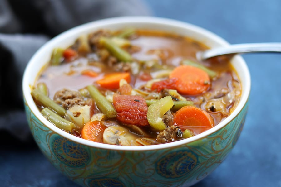 Warm and satisfying, Hamburger Vegetable Soup is full of good for you veggies and comes together in a little over 30 minutes.