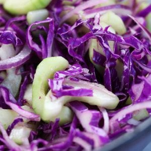 This Simple Asian Slaw recipe is a crispy and refreshing companion to many asian dishes. Comes together in minutes, disappears almost as fast and is a fun way to eat your veggies.