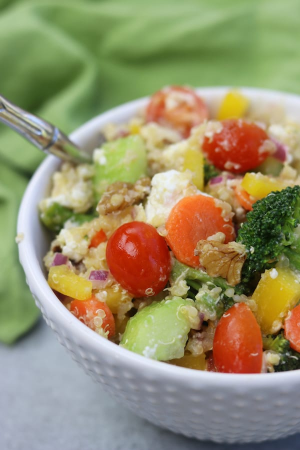 Tangy, creamy and crunchy, Quinoa Crunch Salad recipe is special enough for Easter dinner and the leftovers are perfect to pack for lunch.