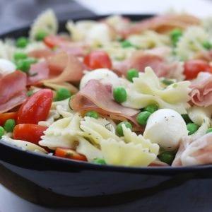 Pea Prosciutto Pasta Salad