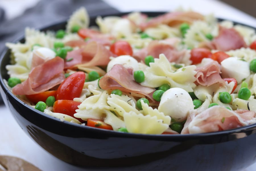 Pea Prosciutto Pasta Salad is a super simple and incredibly delicious recipe for a quick spring or summer meal.