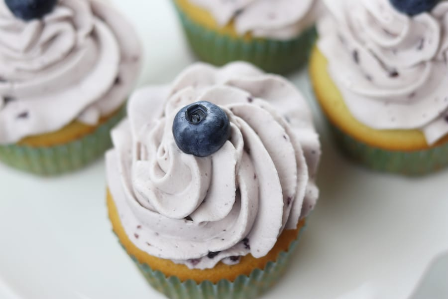 Vanilla Cupcakes with Blueberry Whipped Cream