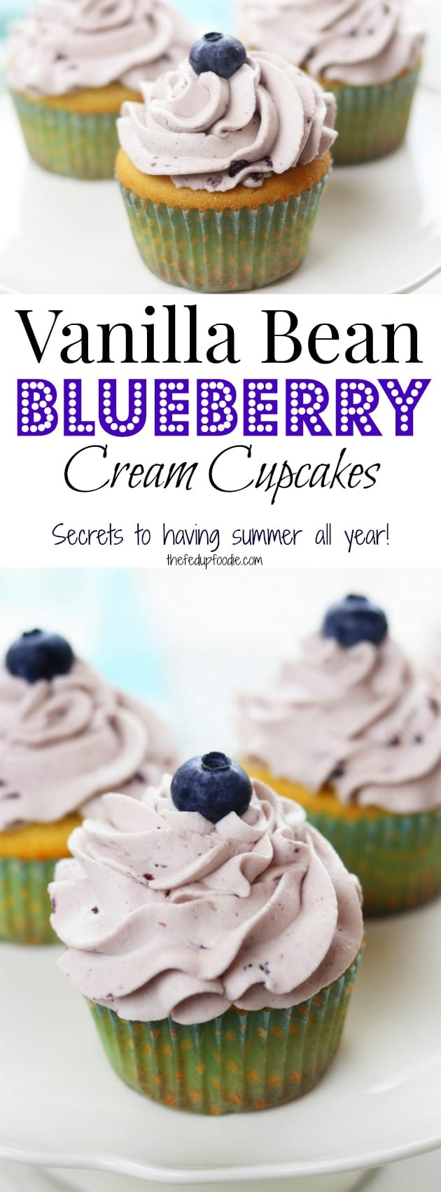 Vanilla Bean Blueberry Cream Cupcakes recipe creates moist and tender homemade cupcakes with a fluffy blueberry whipped cream frosting. These heavenly cupcakes are easy enough to make for an everyday treat but delicious enough for special occasions.