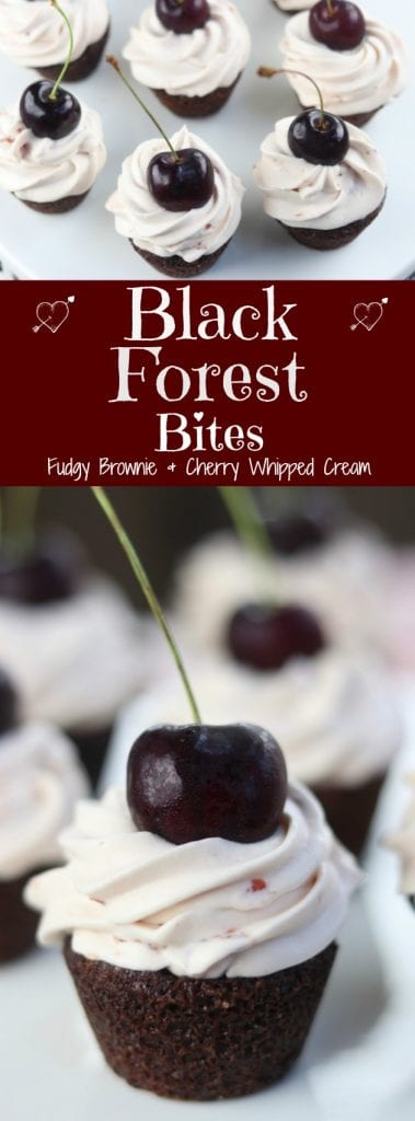 A fudgy bite of brownie topped with cool creamy cherry whipped cream makes these Black Forest Bites a favorite among cherry and chocolate lovers. Incredibly easy to make with just a few ingredients to mix together. These were the hit of the dinner party!