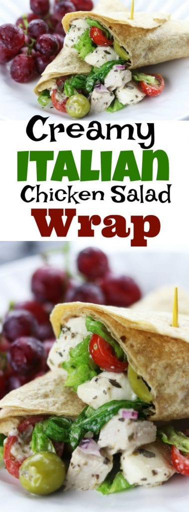 Creamy Italain Chicken Salad Wrap recipe is an easy and delicious meal. A whole wheat tortilla holds baked chicken, mozzarella cheese, veggies and a homemade creamy Italian dressing. Always a favorite as a make ahead lunch! https://www.thefedupfoodie.com