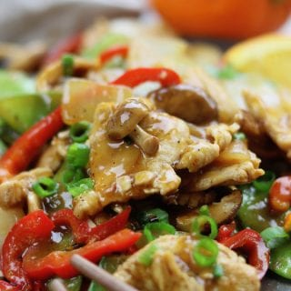 Citrus Chicken Stir Fry is clean eating at its best. Stir fried veggies and chicken are covered in a savory soy orange sauce. A family favorite recipe that comes together in less than 30 minutes.
