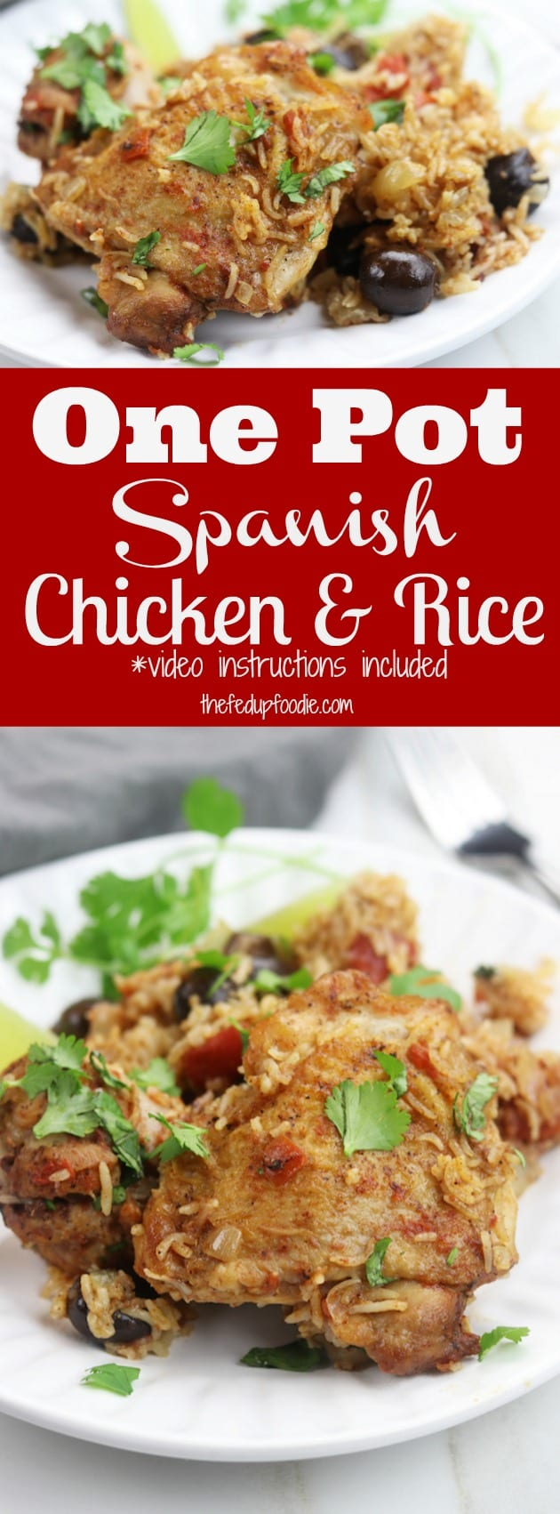 This One Pot Spanish Chicken and Rice recipe is a simple, comforting meal bursting with flavor. An easy 15 minutes to prep and then pop in the oven to bake. This has become one of my favorite go to recipes that even children love. https://www.thefedupfoodie.com