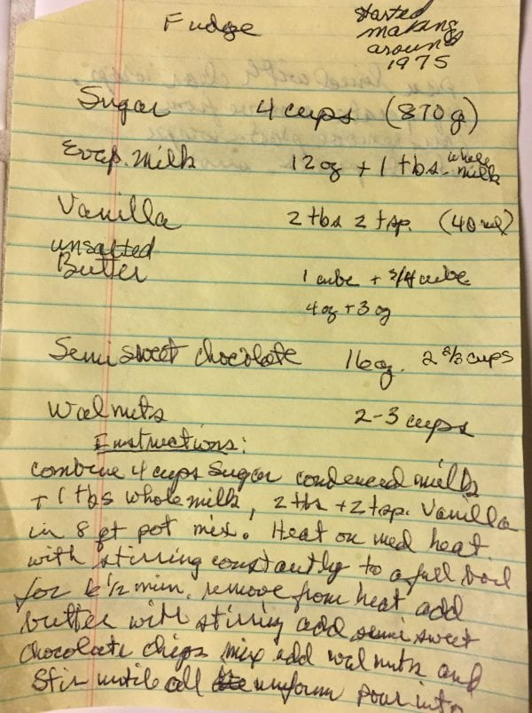 Old Fashioned Homemade Fudge handwritten recipe page 1
