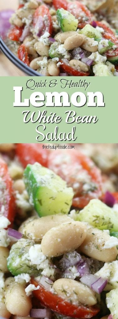 Quick and healthy, Lemon White Bean Salad is perfect as a refreshing lunch, side dish or party salad. Takes just minutes to assemble making eating well on busy days so much easier.