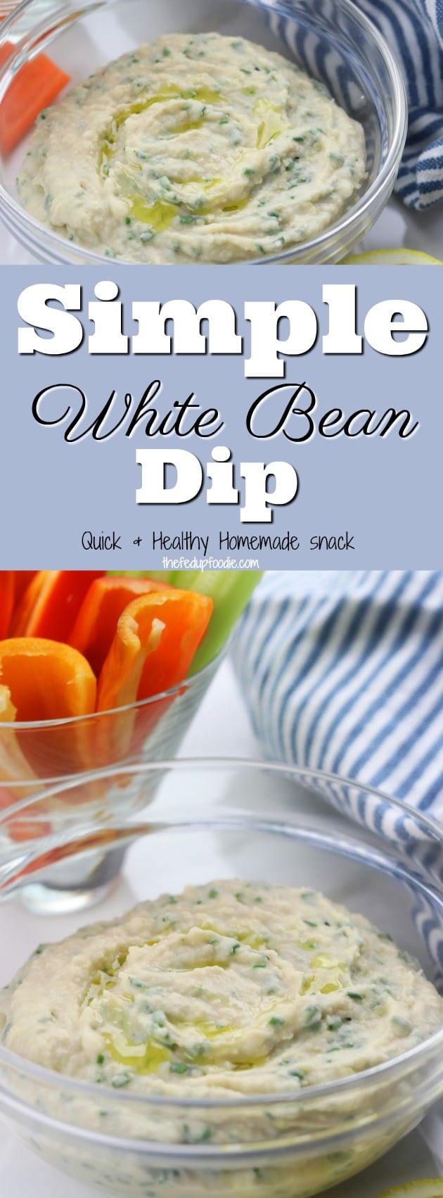 Simple White Bean Dip is a quick and healthy recipe perfect as an appetizer for a party or a fast afternoon snack. This recipe is so delicious you may find yourself craving this as a feel good lunch also.