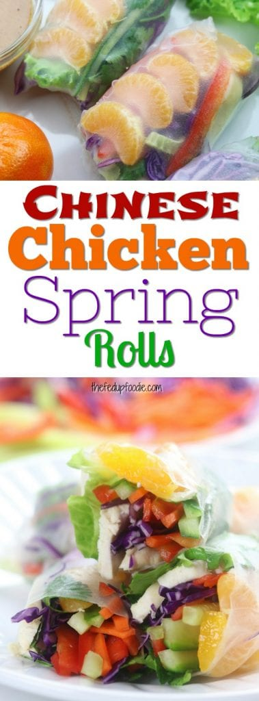 Chinese Chicken Spring Rolls are packed with refreshing, crisp veggies, mandarin oranges, baked chicken and an incredibly delicious almond dipping sauce. This easy and healthy recipe is a twist on Chinese chicken salad and is perfect as an appetizer, lunch or light dinner. Instructional video included. #springrolls #weightlossrecipe #lightdinner #lunch https://www.thefedupfoodie.com