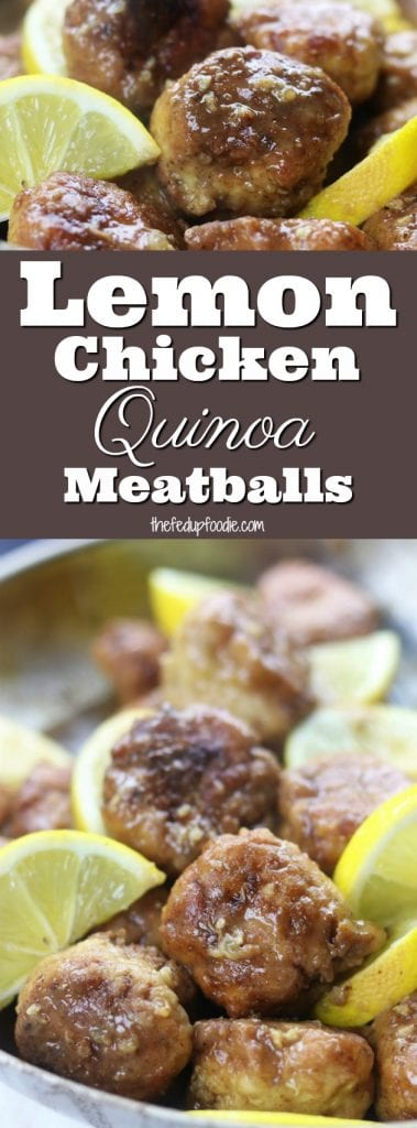 Lemon Chicken Quinoa Meatballs has tender and juicy chicken in a luscious lemon sauce that is perfect over brown rice.  Quick, healthy and gluten-free, this meal is crazy good and a favorite with lemon lovers.