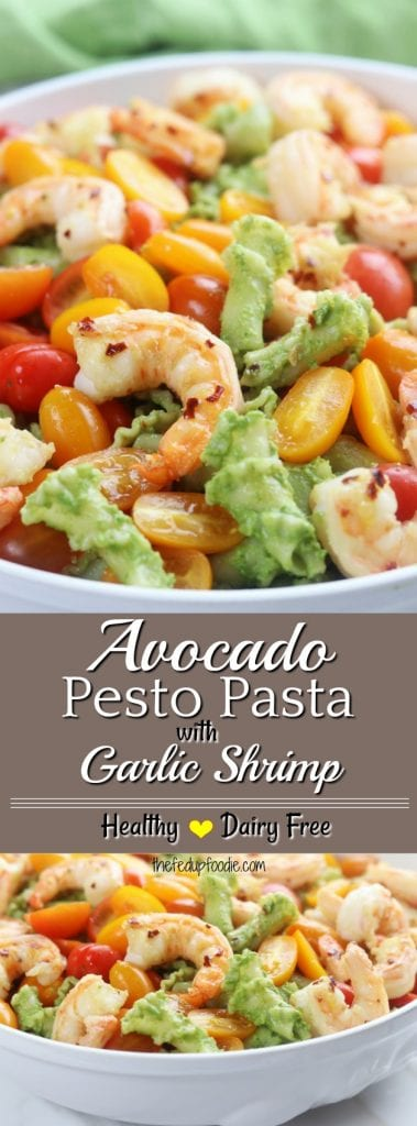 Super healthy and easy, this Avocado Pesto Pasta with Garlic Shrimp is beyond delicious. Dairy free and packed with good for you fats, this recipe is an absolute healthy comfort meal that is perfect for lunch or diner. #avocadopastasauce #pestopastarecipe #healthypasta #oliveoil https://www.thefedupfoodie.com